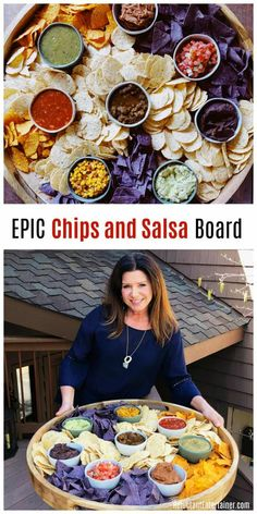 EPIC Chips and Salsa Board the perfect potluck party food Enjoy flavored salsas guacamole corn and beans dips sour cream served with a variety of corn and tortilla chips Party Platters, Cheese Platters, Appetizers For Party, Appetizer Recipes, Appetizer Ideas, Dinner Parties, Dinner Party Foods, Food For Parties, Super Bowl Appetizers