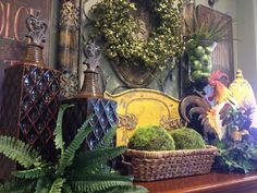 Tuscan Mantle Vignette (Savvy Seasons by Liz) Tuscan Style Homes, Tuscan House, Tuscan Decorating, French Country Decorating, Decorating Ideas, Decor Ideas, Autumn Decorating, Tuscany Decor, Tuscan Design