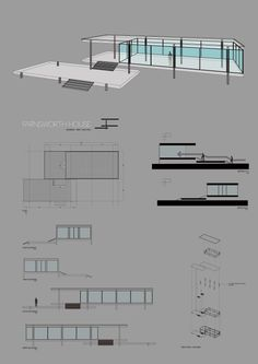 Digital Studio 2015 Farnsworth house study - supervised by Ulak Ha Copyright 2015 All Rights Reserved Casa Farnsworth, Farnsworth House Plan, Barcelona Pavilion, Ludwig Mies Van Der Rohe, House Drawing, Glass House, Planer, House Plans, Floor Plans