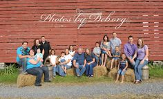 Extended big multiple family photo idea. Dress each family in a different color so it is easier to see who goes with who. Barn farm country western photo.  http://myphotosbydeblife.blogspot.com/2012/12/autumn-is-my-favorite-time-for.html