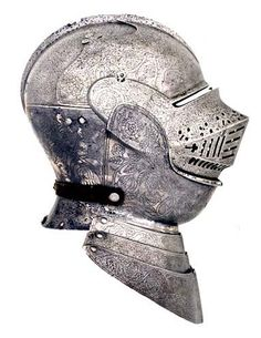 Silver and engraved armour for the field, belonging to Henry VIII. Decorated in England by a Flemish craftsman in about 1512-14