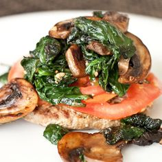 naked turkey burgers w/ sauteed spinach and mushrooms