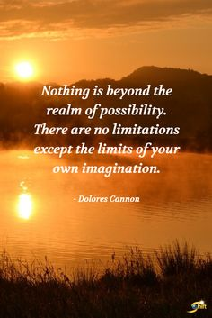 """""""Nothing is beyond the realm of possibility. There are no limitations except the limits of your own imagination."""" - Dolores Cannon"""