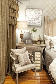 LOVE this. i already have curtains about the color of burlap in my spare bedroom.  am thinking about adding ruffles.