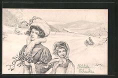 Künstler-AK V.K., Vienne Nr. 5031: Mutter mit Kind im Schnee, Weihnachten 0