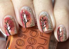 Festive Autumn Tree/Foliage Nail Art