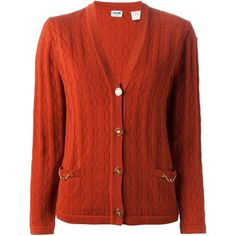 Céline Vintage Knit Cardigan ($320) ❤ liked on Polyvore featuring tops, cardigans, sweaters, red, v-neck top, long sleeve knit cardigan, long sleeve knit tops, button front cardigan and red v neck cardigan