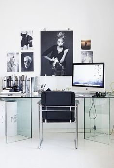 Modern Glass Desk Cool Home Office With Poster Tapja. Chair, Sofa, Table, Home Office, Lamp and Lighting Work Without Have To Be Involved In Defaulted Or Go Morning And Go Home Night Has Now Present Modern Cool Home Offices Suppose Design Office, Home Office Design, Home Office Decor, Office Ideas, Office Designs, Office Style, Office Inspo, Decoration Inspiration, Workspace Inspiration