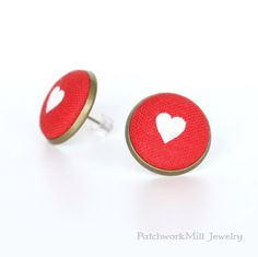 Red Hearts Stud Earrings, Valentine's Day Earring Studs, Fabric Buttons Earrings, Love Posts, Gift For Women, Valentine's Gift, Romantic Jewelry by PatchworkMillJewelry