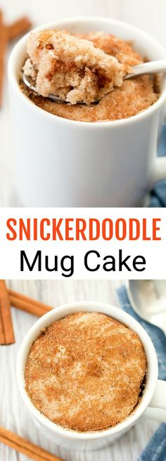A single serving mug cake that tastes like a snickerdoodle cookie in cake form. This easy cake cooks in the microwave in one minute.