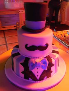 Mustache party cake