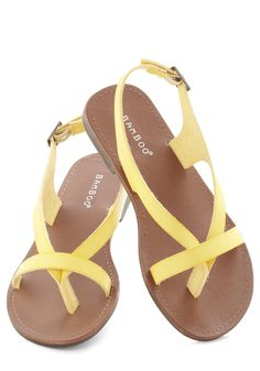Bound for the beach in our stylish array of shoes sandals at ModCloth! Shop women's sandals from flip flops to t-straps for summer looks you love! Cute Sandals, Cute Shoes, Flip Flop Sandals, Me Too Shoes, Shoes Sandals, Sandals Outfit, Strappy Sandals, Flat Sandals, Yellow Sandals