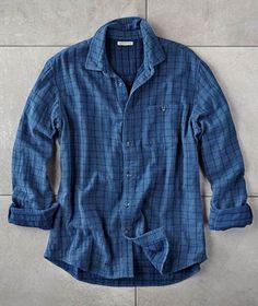 Effortlessly Cool Men's Shirts - XY Grid Shirt - Carbon2Cobalt