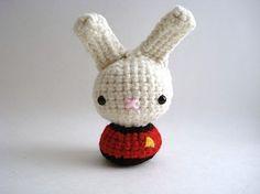 Redshirt Moon Bun. Amigurumi bunny.