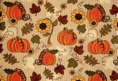 Fall Pumpkin Fabric By The Yard Quilting by NeedlesnPinsStichery