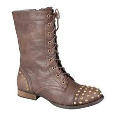 @Overstock - The libby is a short combat boot on a traction outsole with a lace up polyurethane upper and pointy metal studs on both the heel wrap and toe box.http://www.overstock.com/Clothing-Shoes/Womens-Da-Viccino-Libby-02-Brown/7425013/product.html?CID=214117 $45.95