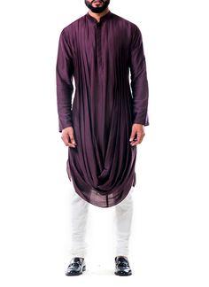 Shop Purple Double Cowl Kurta Set from Anju Agarwal | Silk, Cotton Silk