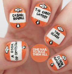 Book cover nails - awesome and stylish!  Penguin Books