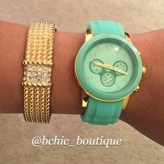"""❗️Final Reduction BOGO Stylish Mint/Gold Watch Accessorize your wrist with the perfect addition of style and class. T&J Designs Mint Watch with gold accents adds glamour to any outfit you are wearing! The stunning faux leather bracelet when worn with the watch gives it a sparkle that cannot be ignored! Find the bundled watch/bracelet in my closet   Face 1.5"""" diameter, watchband .75"""" wide  Approx 7"""" length with 1"""" extension  Watch Material: rubber, gold plated base metals, hoop and buckle…"""