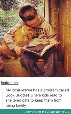 kids read to kitties because kitties are good listeners and don't criticize and kids need the practice.