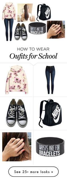 """""""School"""" by the5thwavelover on Polyvore featuring H&M, Converse and NIKE"""