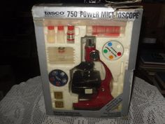 VINTAGE TASCO 750 POWER MICROSCOPE IN BOX SUPER SLIDE SPECTRA RAMA COMPLETE 1984