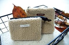 4b3878b8c236 Small cosmetic pouch made of faux fur makeup bag mini wallet. Small coin  purse handmade