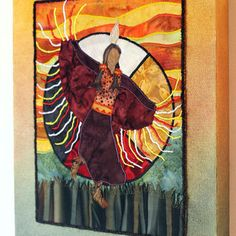 Native American Fancy Shawl Dancer, medicine wheel, art quilt on canvas
