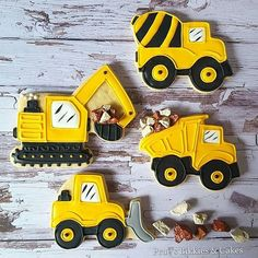Ideas Cupcakes For Kids Birthday Mini Construction Cookies, Construction Theme, Construction Party Decorations, Construction Birthday Parties, 3rd Birthday Parties, 2nd Birthday, Monster Truck Cookies, Tractor Cookies, Excavator Cake