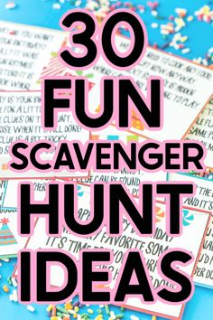 The best scavenger hunt ideas for all ages - for kids for teens for adults and even for preschoolers! Theres something for everyone and every occasion! Teen Scavenger Hunt, Camping Scavenger Hunts, Scavenger Hunt Riddles, Outdoor Scavenger Hunts, Scavenger Hunt Birthday, Christmas Scavenger Hunt, Halloween Scavenger Hunt, Fun Halloween Games, Nature Scavenger Hunts