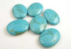 Magnesite Oval Beads // 23 x 30 mm Puffy Oval by CastoGemstones, $4.80