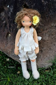 Anne wearing her undergarments, made of cotton gauze. A contemporary all-natural art doll by Fig and Me.