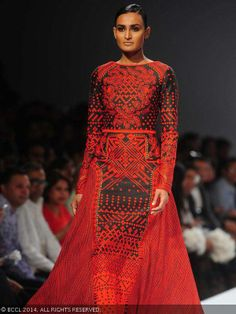Rachel Bayros walks the ramp for designer Sahil Kochhar on Day 5 of Wills Lifestyle India Fashion Week (WIFW) autumn-winter (AW) 2014, held in Delhi, on March 30, 2014.