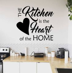 Kitchen Wall Quotes, Kitchen Wall Decals, Vinyl Wall Decals, Kitchen Vinyl, Wall Stickers, Budget Kitchen Remodel, Kitchen On A Budget, Family Kitchen, Wall Painting Decor