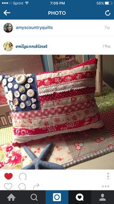 ~ American flag patchwork pillow ~