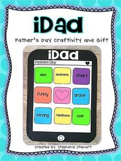 This is a Father's Day craftivity that for all the dads and other special people raising the kiddos in your class. In addition to the iDad template. School Gifts, Student Gifts, School Fun, School Craft, Holiday Activities, Holiday Crafts, Holiday Fun, Letter Template For Kids, Letter To Dad
