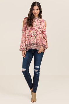 Darla High Neck Floral Cold Shoulder Top- Pink model