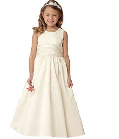 f35978d958b Lace and Sashes Floor Length High Neck Satin Unique Ivory Flower Girl  Dresses New Fashion 2014