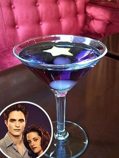 """""""Twilight"""" inspired drinks:  New Moon (pictured) 1 oz. vodka  1 oz. triple sec  1 oz. creme de violette  Stir contents in a shaker and serve up in a martini glass. Garnish with a piece of citrus cut out with a star-shaped cookie cutter.    The Edward  1 ½ oz. Plymouth gin  ½ oz. Licor 43  ½ oz. Plymouth sloe gin  ½ oz. lemon juice"""
