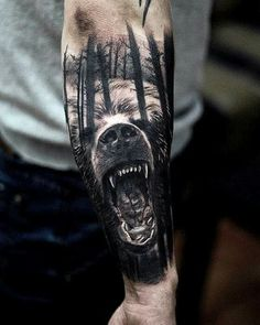 20 Amazing Bear Tattoos Ideas For Men And Women - Instaloverz Cool Forearm Tattoos, Body Art Tattoos, Small Tattoos, Cool Tattoos, 3d Tattoos, Male Leg Tattoos, Tatoos, Wolf Tattoo Sleeve, Sleeve Tattoos
