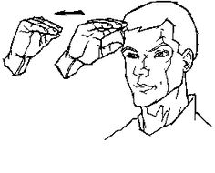 """boy"" in American Sign Language (ASL) - movement of the hand indicates brim of cap"