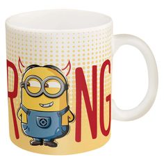 Enjoy coffee with Minions! Great gift giving idea. Artwork covers entire mug