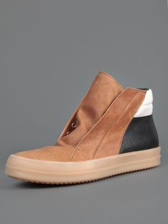 Rick Owens Leather Sneakers with Rubber Sole and Side Zip