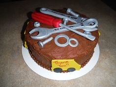 Mechanics Appreciation Cake - all tools made out of fondant - 100% edible.