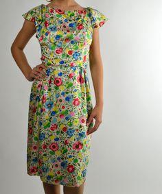 Vintage Dress, Silk Dress, Floral Dress, Preppy Dress, Ruffle Dress, Classic Dress, 50s Dress,  Size Small by BuffaloGalVintage on Etsy