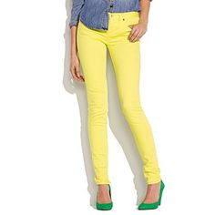 Mellow Yellow skinny skinny colorpop jeans  $110.00  Item# 75246  Genius Jeans Guarantee: Our superslim and super-stretchy fit.