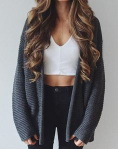 grey cardigan, white crop top, high waisted jeans
