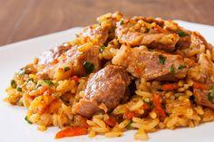 Rizoto s bravčovým mäsom Fried Rice, Fries, Curry, Pork, Chicken, Meat, Ethnic Recipes, Fitness, Healthy Recipes