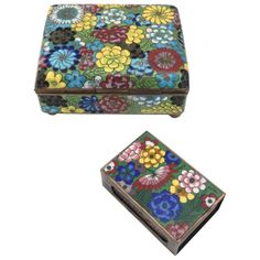Vintage Cloisonné Cigarette Box and Match Holder with Floral Motif | From a unique collection of antique and modern cloisonne at https://www.1stdibs.com/furniture/more-furniture-collectibles/cloisonne/
