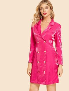 To find out about the Neon Pink Double Button Notched Dress at SHEIN, part of our latest Blazers ready to shop online today! Hot Party Outfits, World Of Fashion, Fashion News, Fashion Blogs, Fashion Sale, Pink Fashion, Womens Fashion, Natural Clothing, Latest Dress